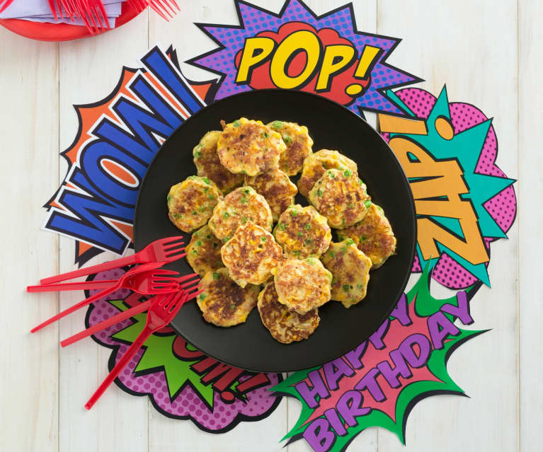 Salami, pea and corn fritters