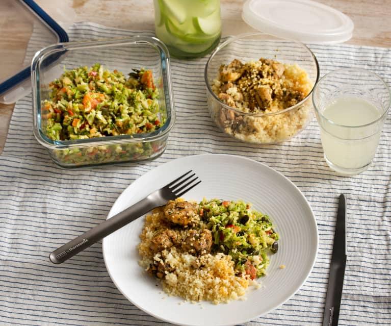 Menú para 1: Limonada de pepino. Ensalada de brócoli y manzana. Pollo al chimichurri
