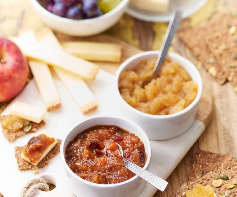 Chutney pomme-gingembre et chutney de mangue épicée