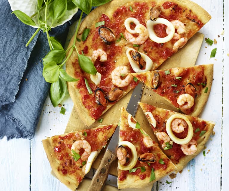 Pizza mit Meeresfrüchten