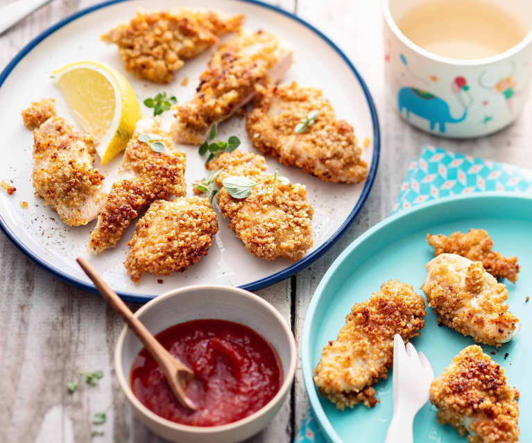 Baby-friendly Quinoa-coated Chicken Goujons with Homemade Tomato Ketchup