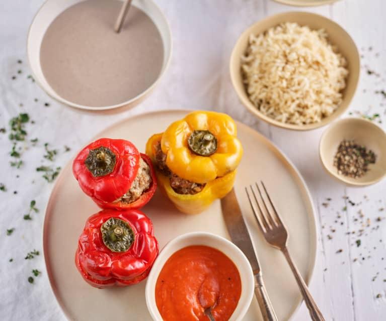 Menù: Vellutata di funghi; peperoni ripieni con riso e salsa di pomodoro (Bimby Friend)