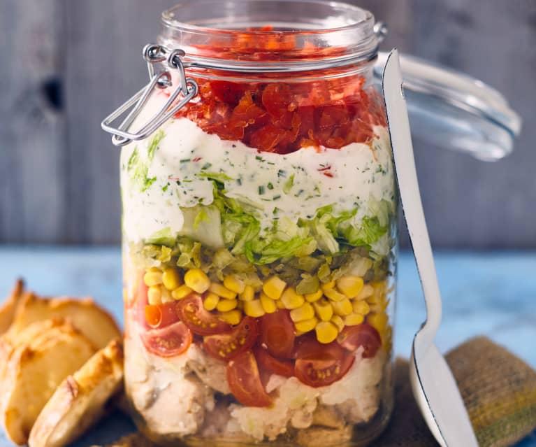 Schichtsalat mit Gyroshähnchen