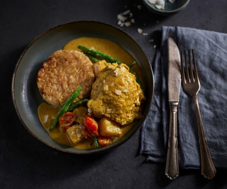 Pollo al curry caribeño con piña y arroz dulce