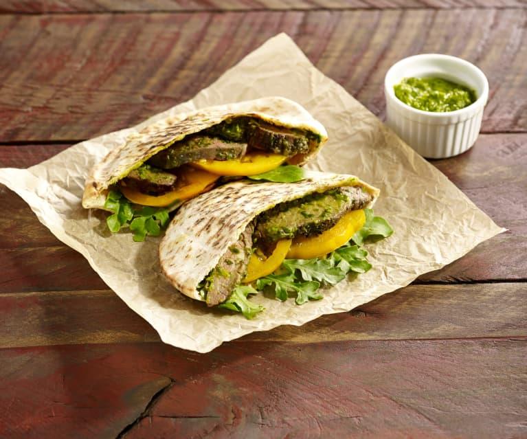 Chimichurri Steak Pita Sandwich