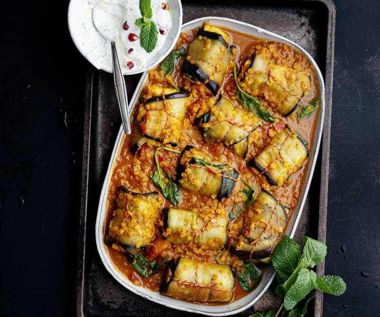 Aubergine Paneer Rolls with Red Lentils and Mint Yoghurt