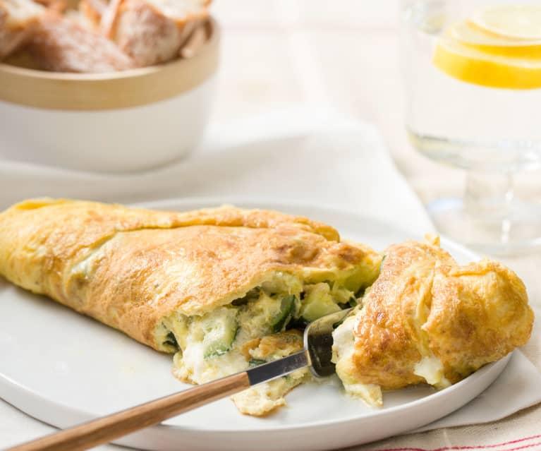 Tortilla de calabacín y queso crema