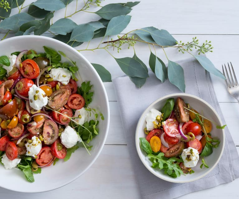 Mixed tomato and labne salad