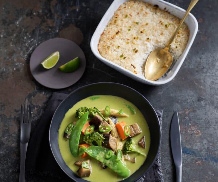 Grünes Thai-Curry mit Zitronengras-Reis