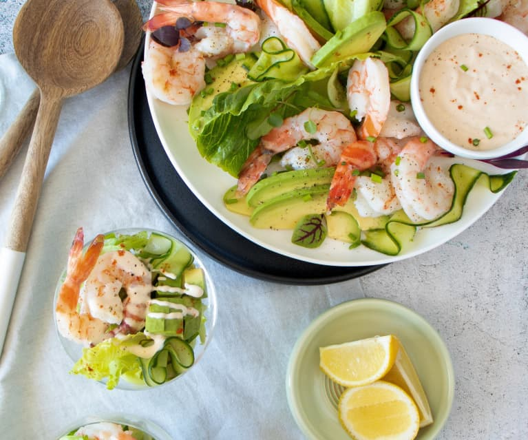 Prawn cocktail with gin-pickled cucumbers