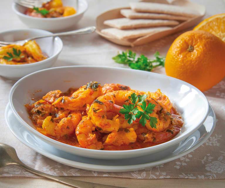 Gamberoni zafferano e arancia