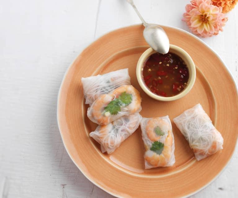 Spring rolls com molho picante