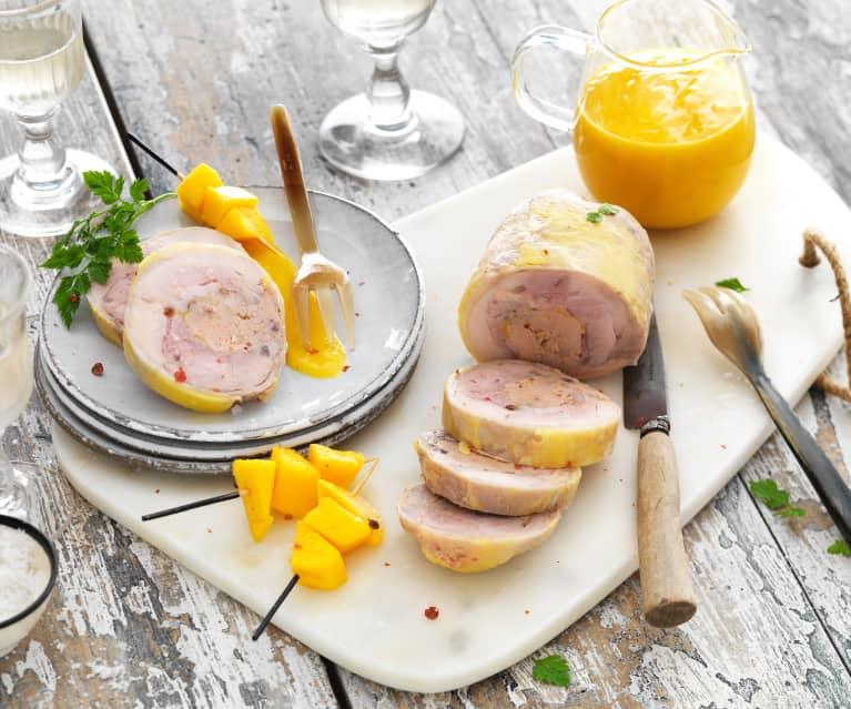 Galantine de poulet au foie gras