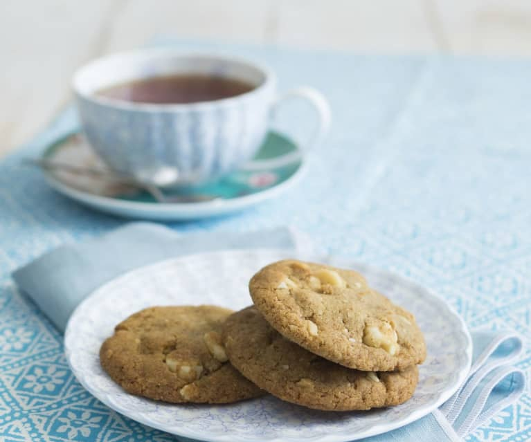 Lemon olive oil salted macadamia biscuits