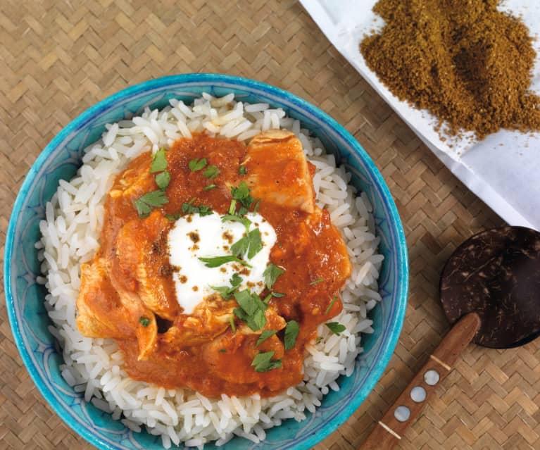 Kurczak garam masala z ryżem