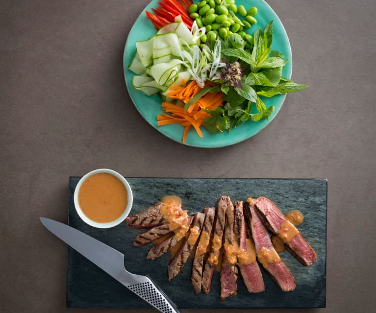 Asian beef salad with peanut dressing