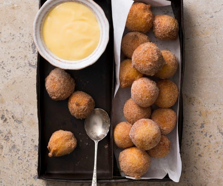 Italian ricotta doughnuts with citrus curd