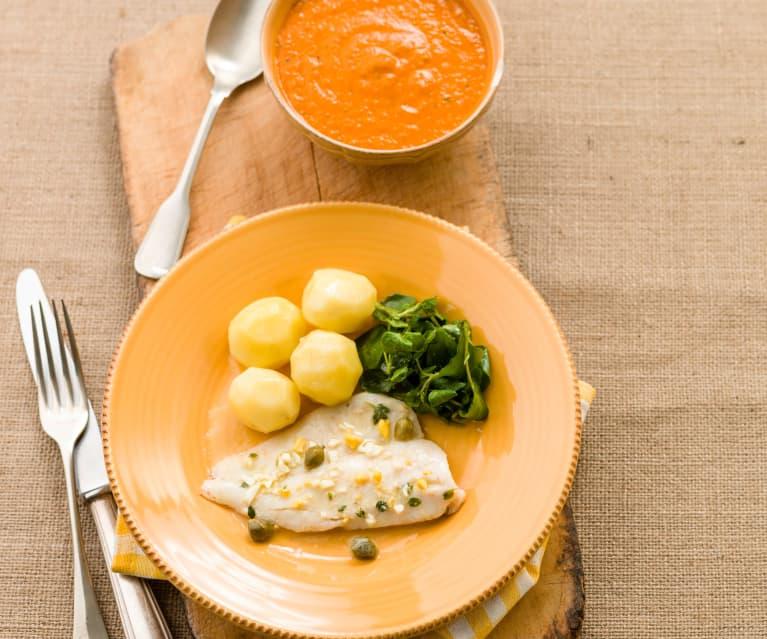 Creme de tomate e Filetes de pescada com batatinhas