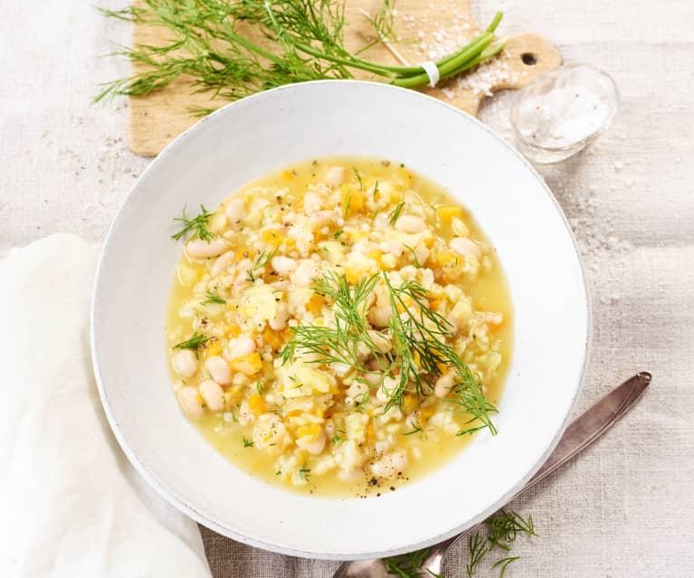 Graupen-Gemüse-Eintopf mit weißen Bohnen
