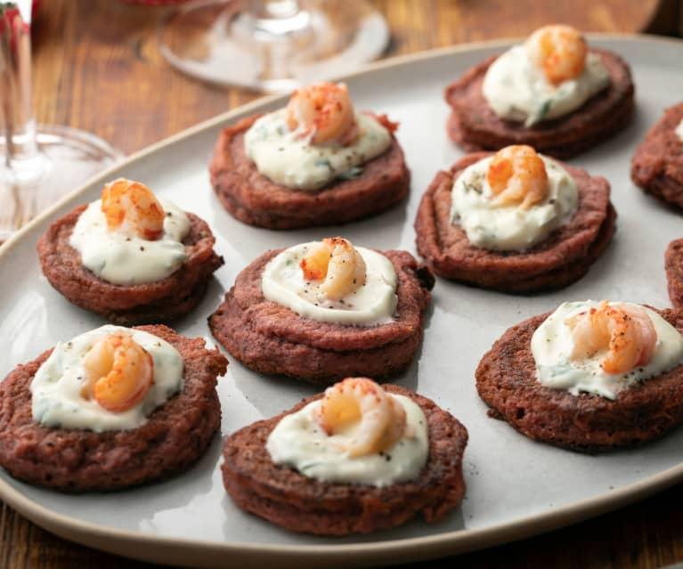 Gluten-free Beetroot Blinis with Horseradish Cream and Crayfish