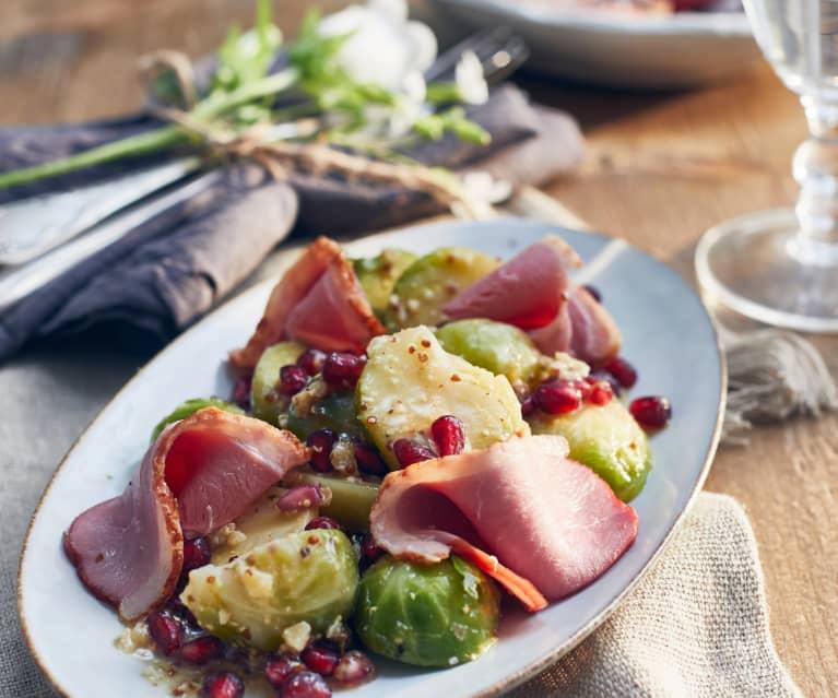 Rosenkohlsalat mit geräucherter Gänsebrust