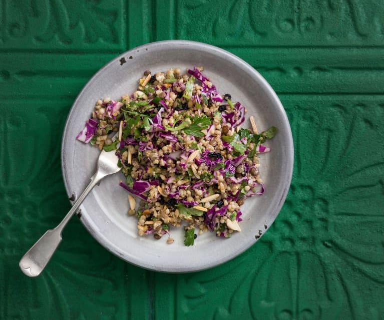 Mixed grain salad with lemon and honey dressing