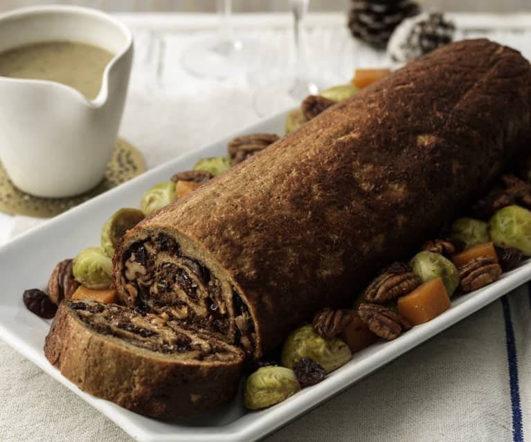 Seitan Roulade with Cranberry Stuffing and Vegan Gravy