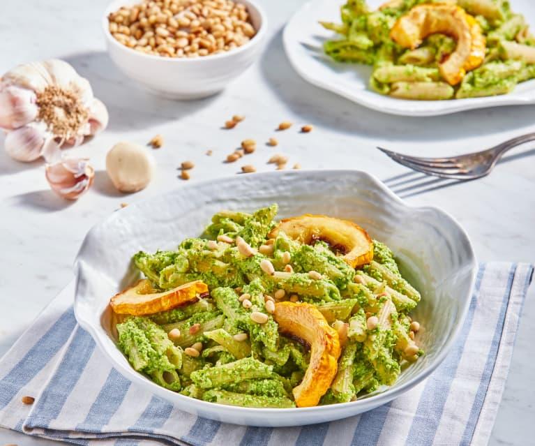 Broccoli Rabe Pesto with Pasta and Roasted Squash