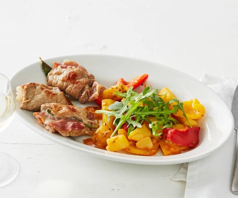 Saltimbocca mit Kartoffel-Paprika-Gemüse