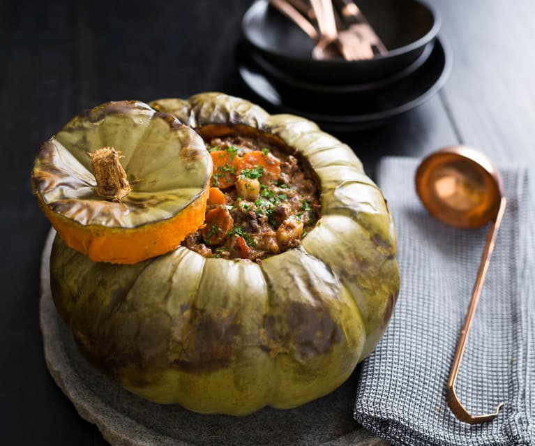 Baked pumpkin and beef stew