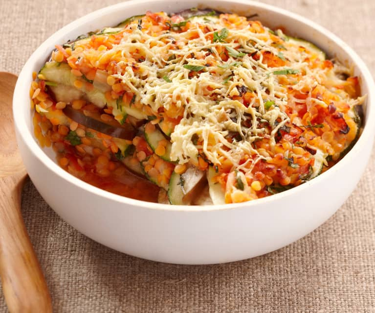 Aubergine, Courgette and Red Lentil Gratin