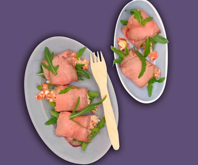 Gefüllte Roastbeef-Röllchen