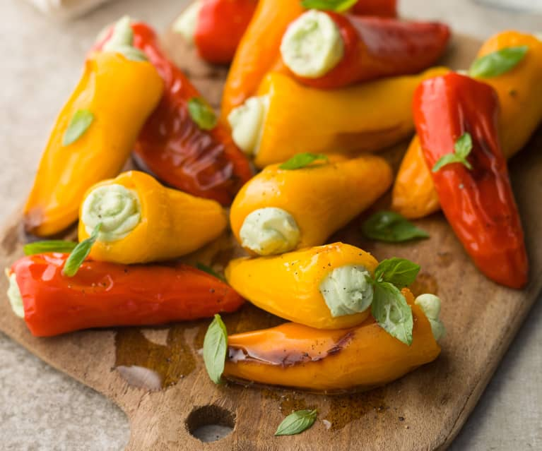 Mini Peppers Stuffed with Homemade Ricotta - Piccoli peperoni ripieni di ricotta