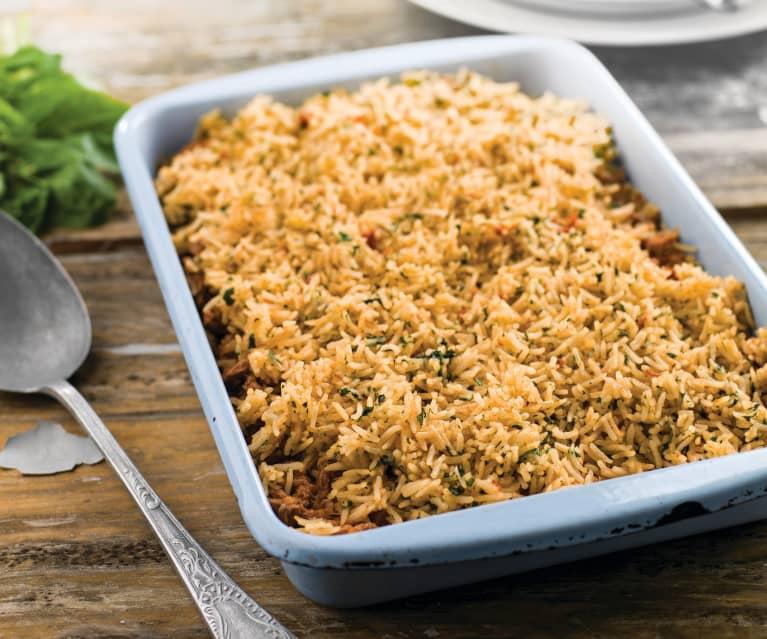 Zapečená rýže s mletým hovězím masem