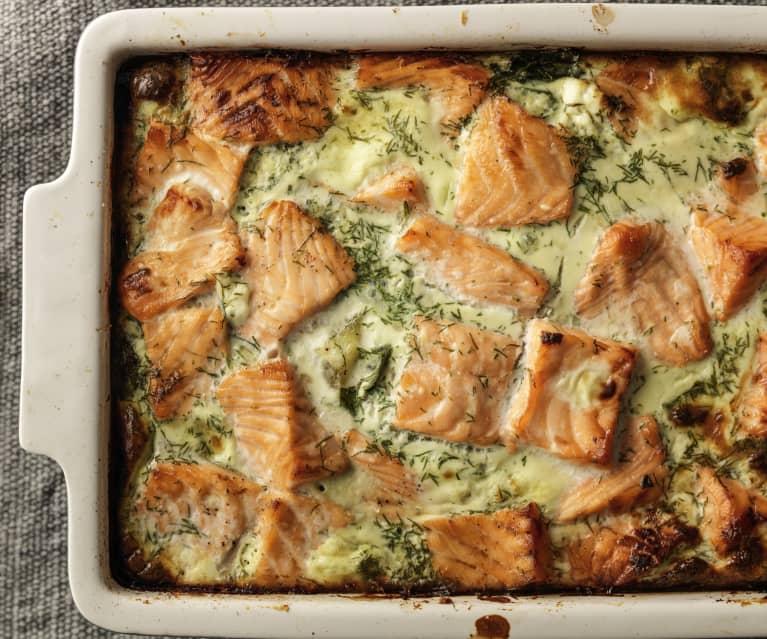 Gebackener Lachs und Kartoffeln mit Dill
