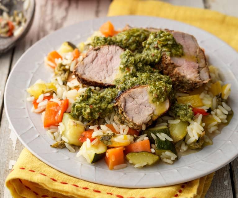 Solomillo de cerdo a la parrilla con chimichurri y ensalada templada de arroz (MEATER)