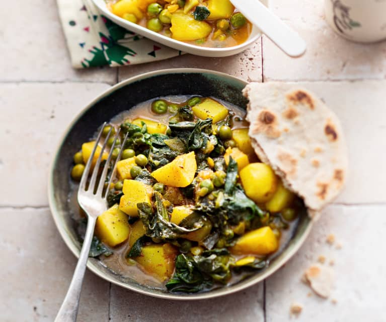 Baby-friendly Potato, Spinach and Pea Curry with Chapatis