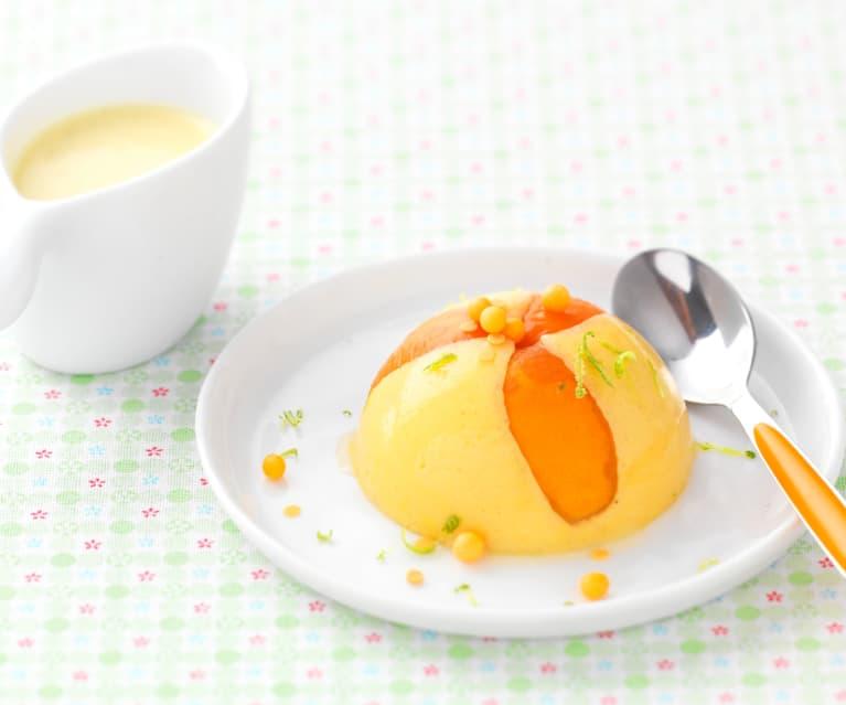 Gâteau de semoule aux abricots et crème anglaise