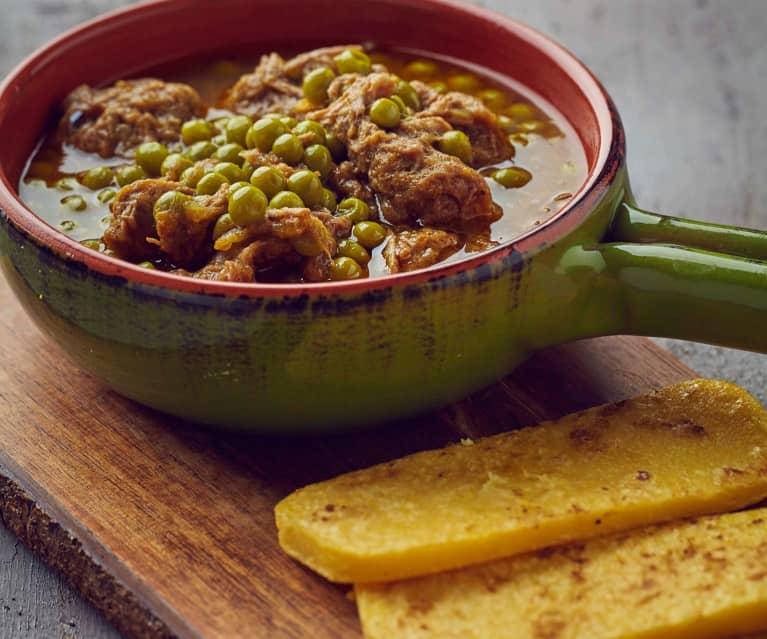 Stracotto di manzo di Razza Piemontese a Cottura Lenta con piselli e polenta