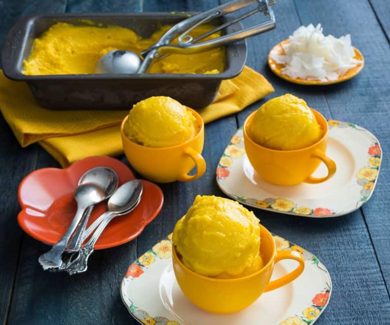 Mango and turmeric sorbet