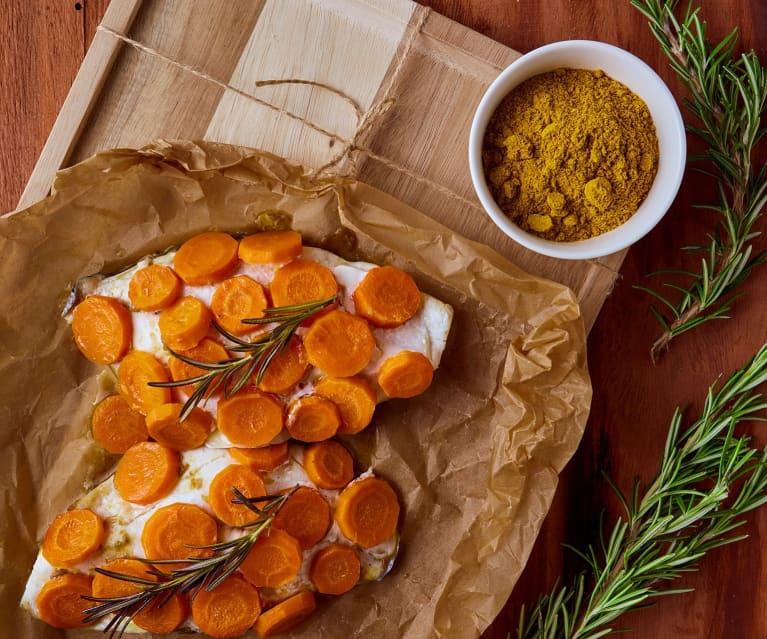 Filetti di orata al cartoccio con crema di lenticchie