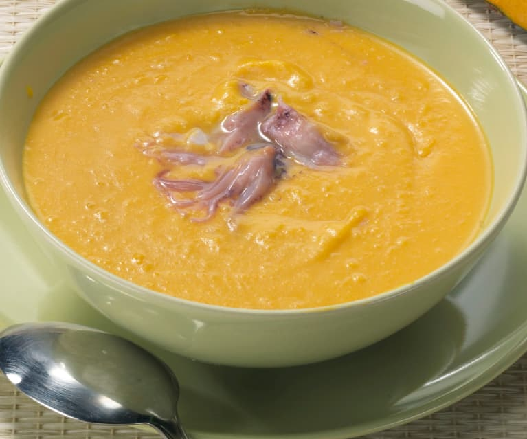 Crema di zucca e calamaretti