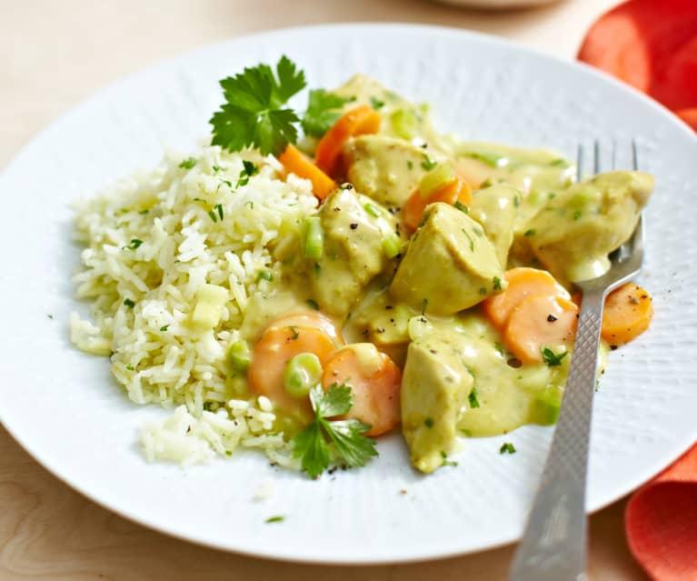 Zitronen-Curry-Hähnchen zu Reis