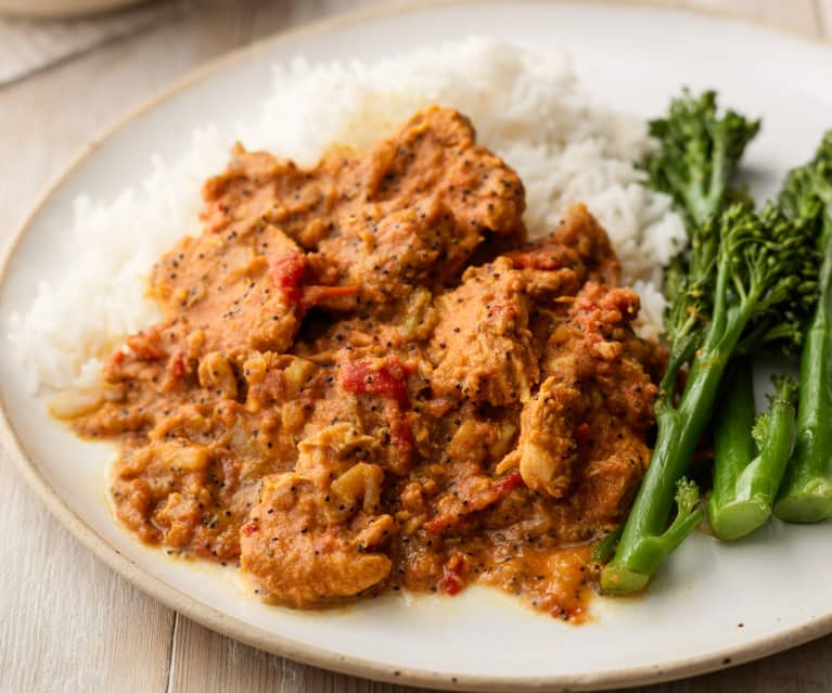 Chicken, Pepper and Poppy Seed Curry with Rice and Tenderstem Broccoli
