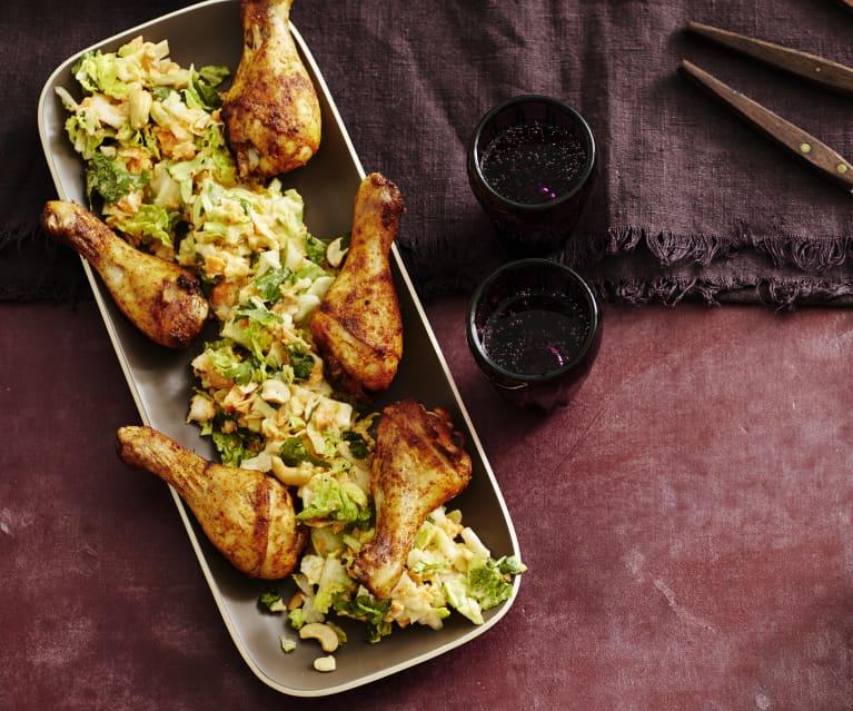 Asiatischer Weißkohl-Möhren-Salat mit Drumsticks