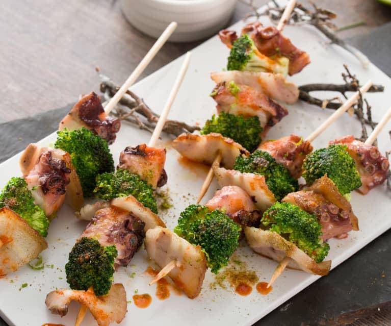 Brochetas De Pulpo Y Brócoli Con Salsa Kimchi Al Vacío