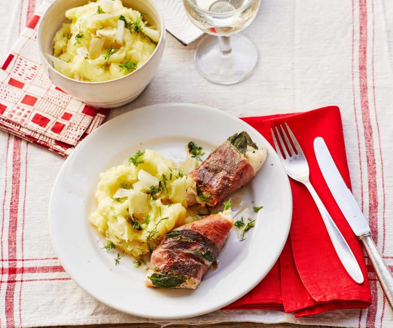 Saltimbocca vom Kabeljau mit Fenchel-Kartoffelpüree