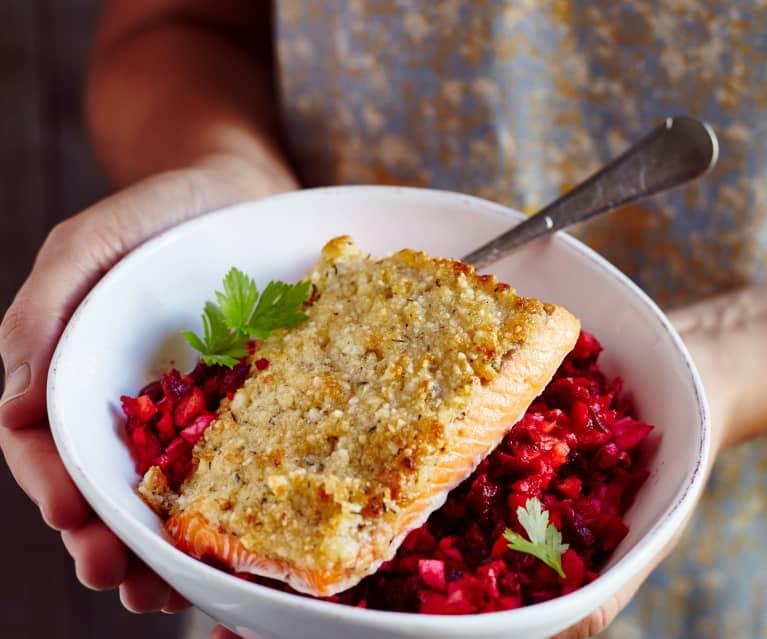 Macadamia-Parmesan-Forelle mit Rote-Bete-Salat