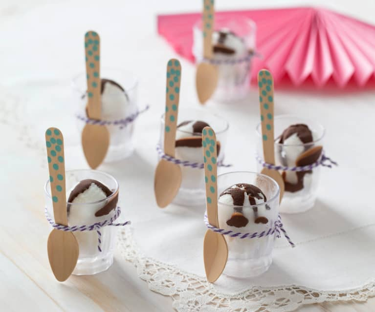 Coconut vanilla sorbet with magic chocolate topping