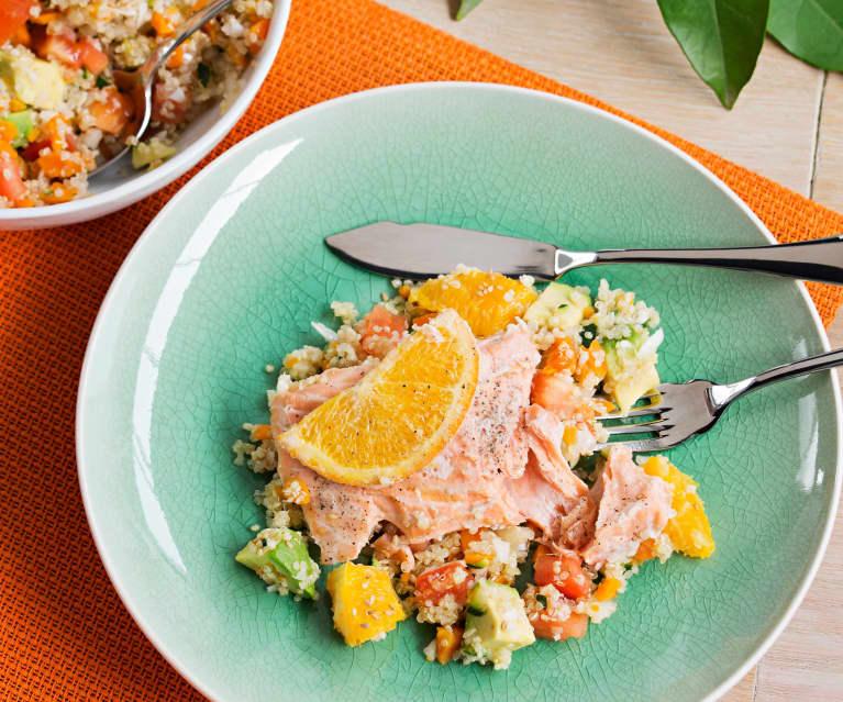Salmón a la naranja con ensalada templada de quinoa
